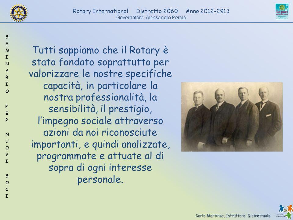Carlo Martines, Istruttore Distrettuale Rotary International Distretto 2060 Anno 2012-2913 Governatore Alessandro Perolo Tutti sappiamo che il Rotary