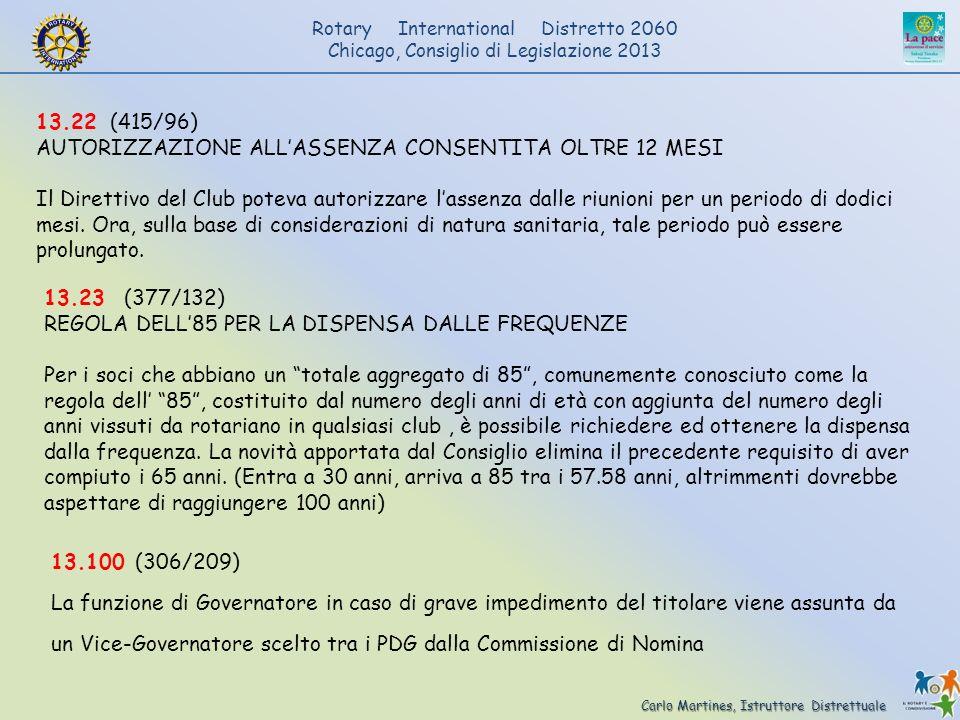 Carlo Martines, Istruttore Distrettuale Rotary International Distretto 2060 Chicago, Consiglio di Legislazione 2013 13.22 (415/96) AUTORIZZAZIONE ALLA