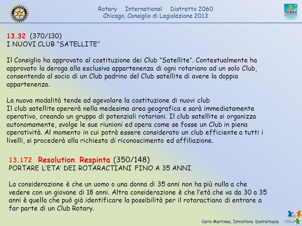 Carlo Martines, Istruttore Distrettuale Rotary International Distretto 2060 Chicago, Consiglio di Legislazione 2013 13.32 (370/130) I NUOVI CLUB SATEL