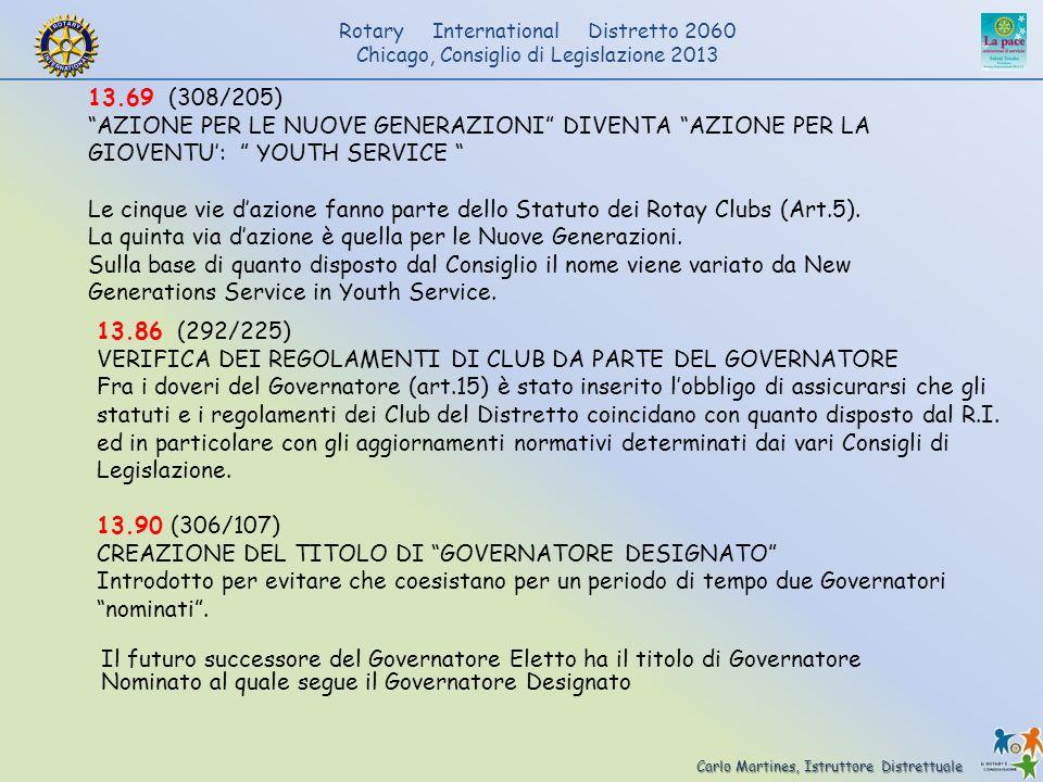 Carlo Martines, Istruttore Distrettuale Rotary International Distretto 2060 Chicago, Consiglio di Legislazione 2013 13.69 (308/205) AZIONE PER LE NUOV