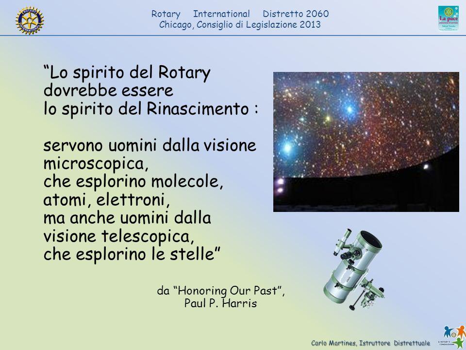 Carlo Martines, Istruttore Distrettuale Rotary International Distretto 2060 Chicago, Consiglio di Legislazione 2013 Lo spirito del Rotary dovrebbe ess