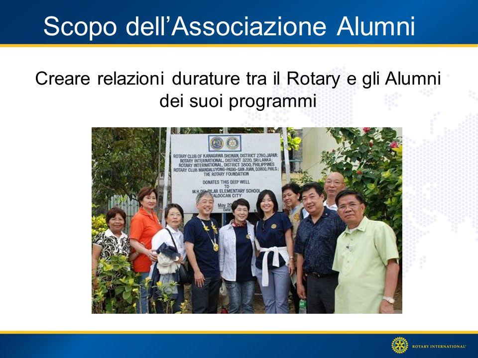 Scopo dellAssociazione Alumni Creare relazioni durature tra il Rotary e gli Alumni dei suoi programmi