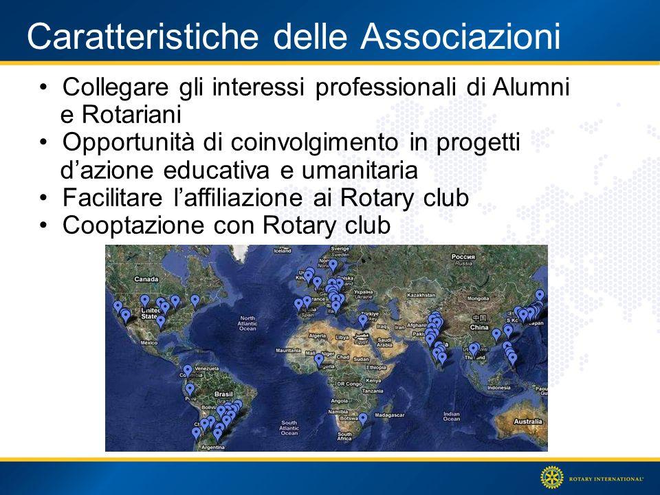 Caratteristiche delle Associazioni Collegare gli interessi professionali di Alumni e Rotariani Opportunità di coinvolgimento in progetti dazione educativa e umanitaria Facilitare laffiliazione ai Rotary club Cooptazione con Rotary club
