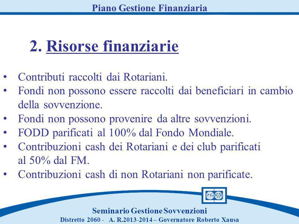 Piano Gestione Finanziaria Seminario Gestione Sovvenzioni Distretto 2060 - A. R.2013-2014 – Governatore Roberto Xausa 2. Risorse finanziarie Contribut