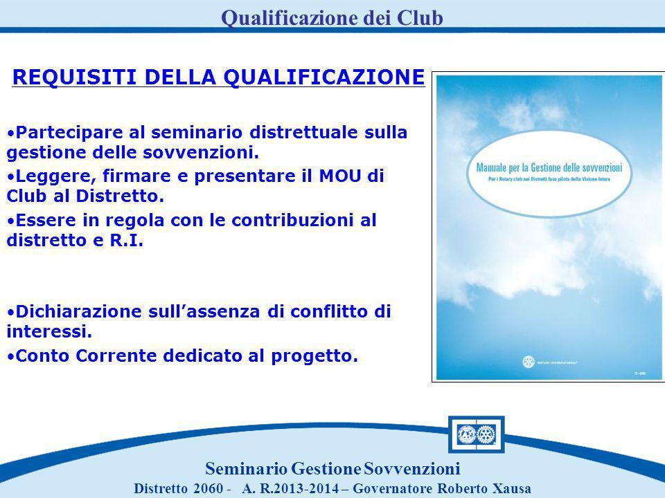 Qualificazione dei Club Seminario Gestione Sovvenzioni Distretto 2060 - A. R.2013-2014 – Governatore Roberto Xausa REQUISITI DELLA QUALIFICAZIONE Part