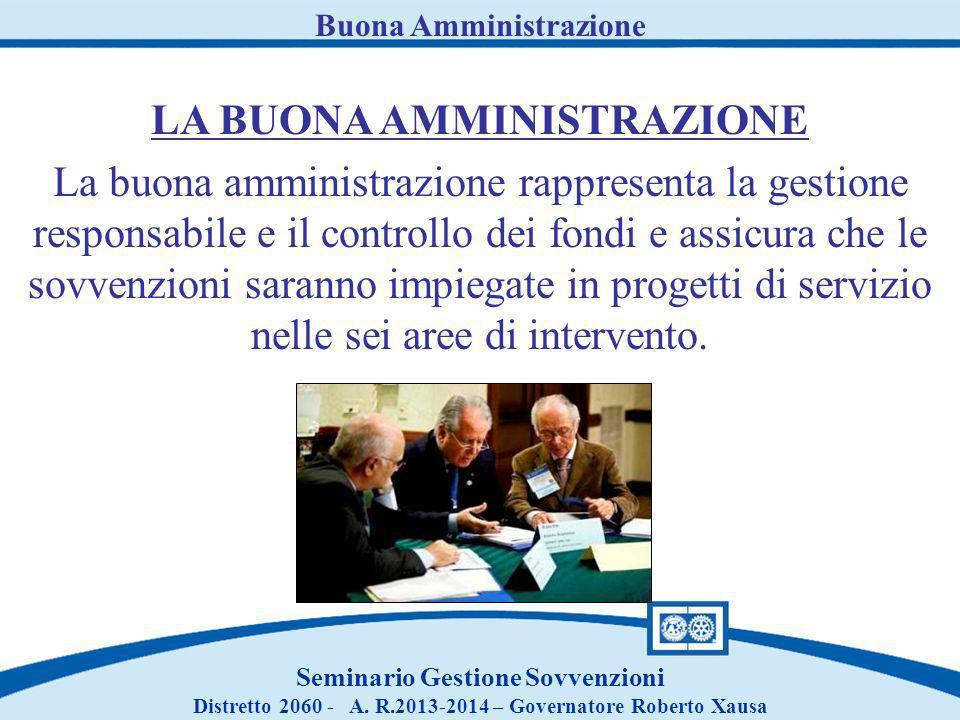 Piano Gestione Finanziaria Seminario Gestione Sovvenzioni Distretto 2060 - A.