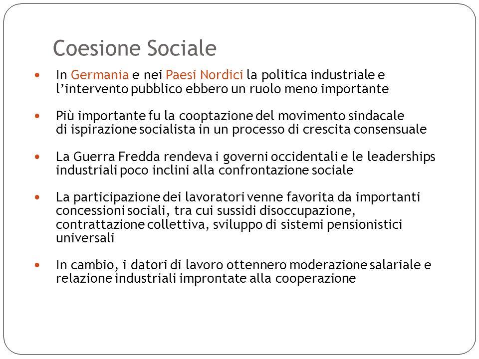 Coesione Sociale 11 In Germania e nei Paesi Nordici la politica industriale e lintervento pubblico ebbero un ruolo meno importante Più importante fu l