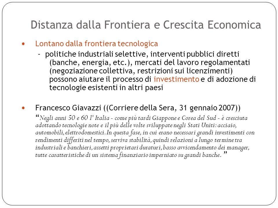 Distanza dalla Frontiera e Crescita Economica 22 Lontano dalla frontiera tecnologica - politiche industriali selettive, interventi pubblici diretti (b