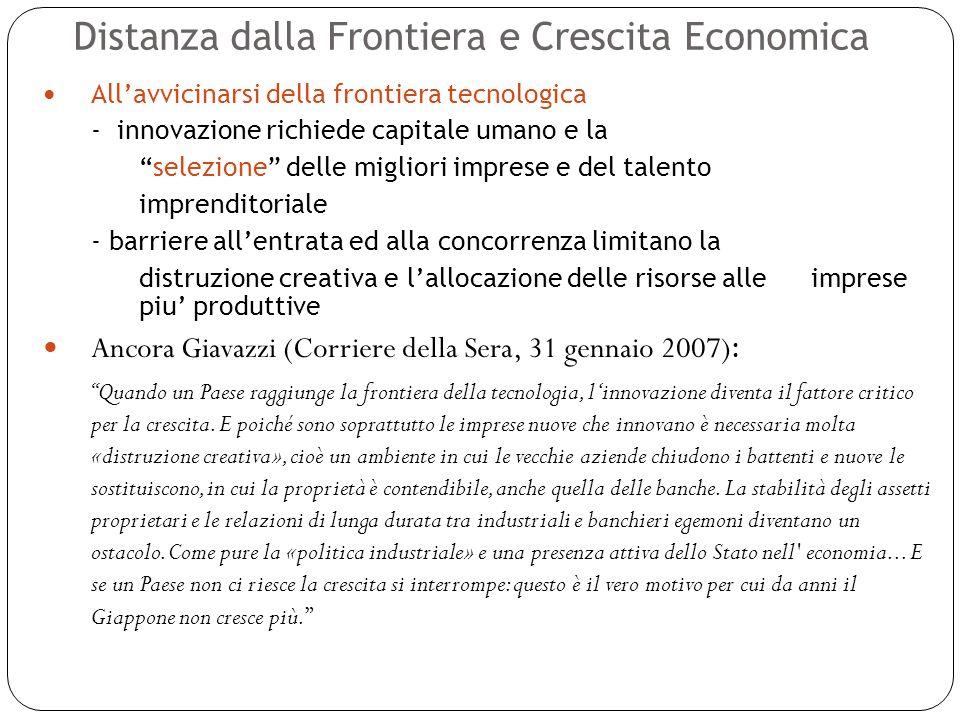 Distanza dalla Frontiera e Crescita Economica 23 Allavvicinarsi della frontiera tecnologica - innovazione richiede capitale umano e la selezione delle