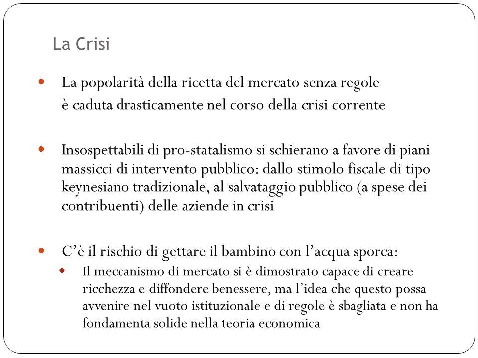 La Crisi 50 La popolarità della ricetta del mercato senza regole è caduta drasticamente nel corso della crisi corrente Insospettabili di pro-statalism