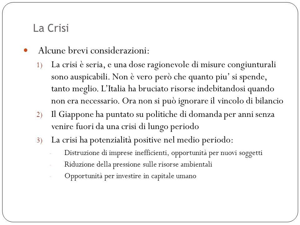 La Crisi 51 Alcune brevi considerazioni: 1) La crisi è seria, e una dose ragionevole di misure congiunturali sono auspicabili. Non è vero però che qua