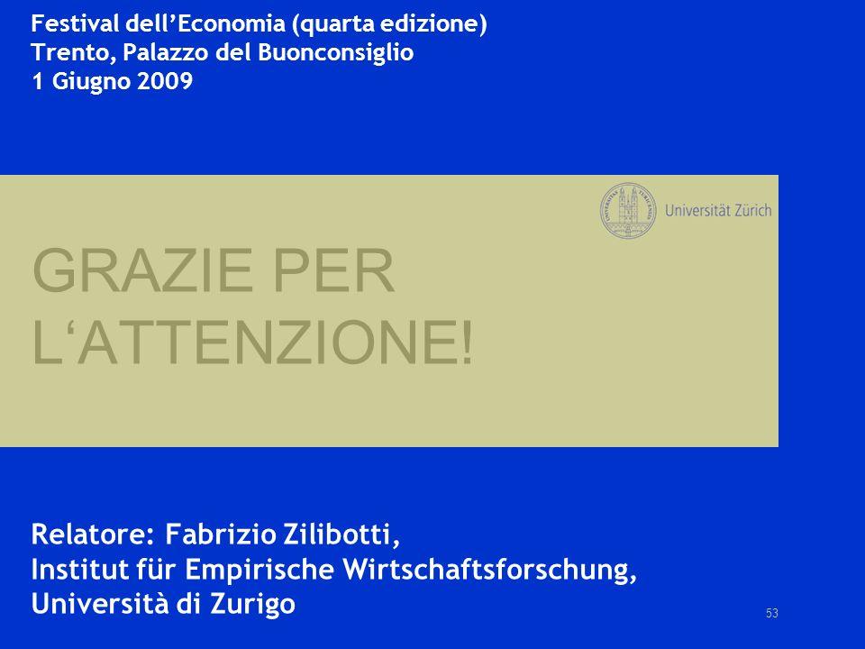 53 Festival dellEconomia (quarta edizione) Trento, Palazzo del Buonconsiglio 1 Giugno 2009 GRAZIE PER LATTENZIONE! Relatore: Fabrizio Zilibotti, Insti