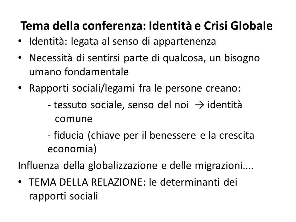 Tema della conferenza: Identità e Crisi Globale Identità: legata al senso di appartenenza Necessità di sentirsi parte di qualcosa, un bisogno umano fo