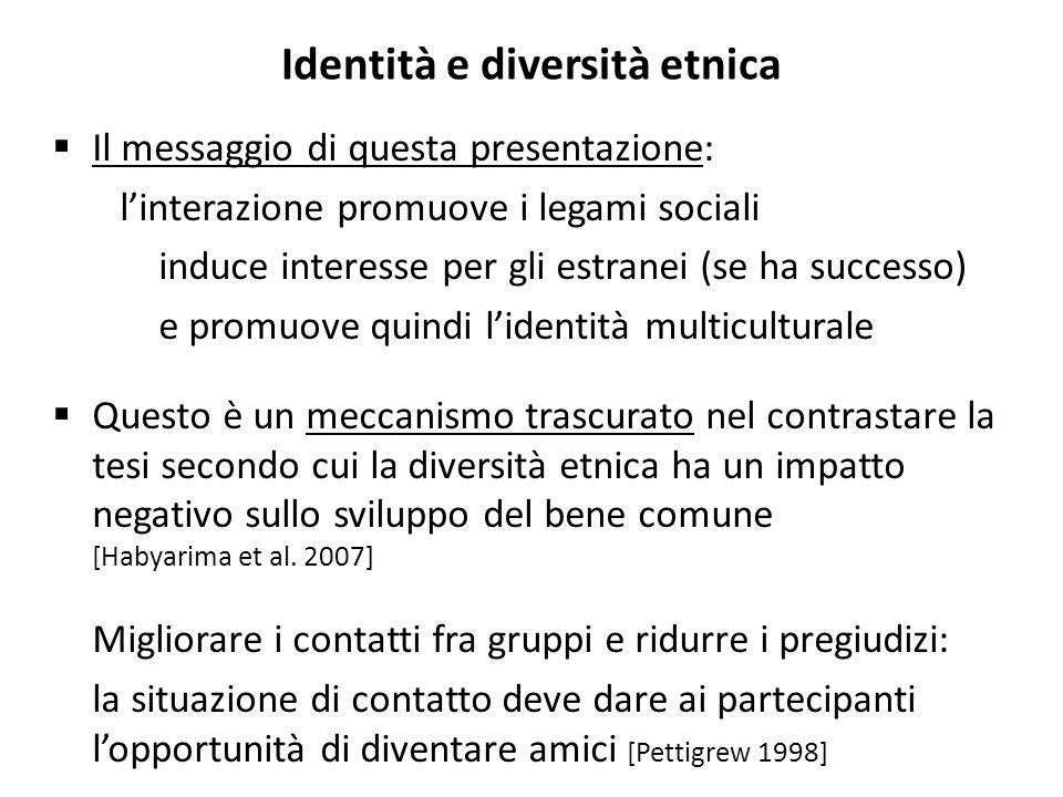 Identità e diversità etnica Il messaggio di questa presentazione: linterazione promuove i legami sociali induce interesse per gli estranei (se ha succ