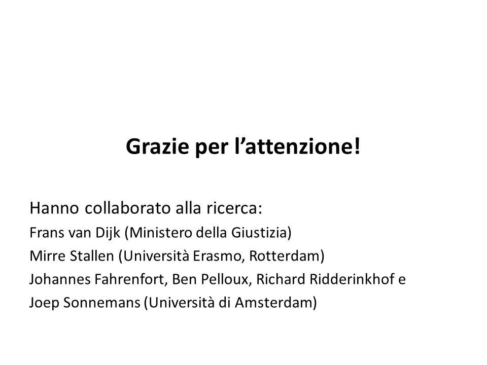 Grazie per lattenzione! Hanno collaborato alla ricerca: Frans van Dijk (Ministero della Giustizia) Mirre Stallen (Università Erasmo, Rotterdam) Johann