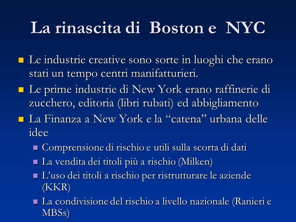 La rinascita di Boston e NYC Le industrie creative sono sorte in luoghi che erano stati un tempo centri manifatturieri. Le industrie creative sono sor