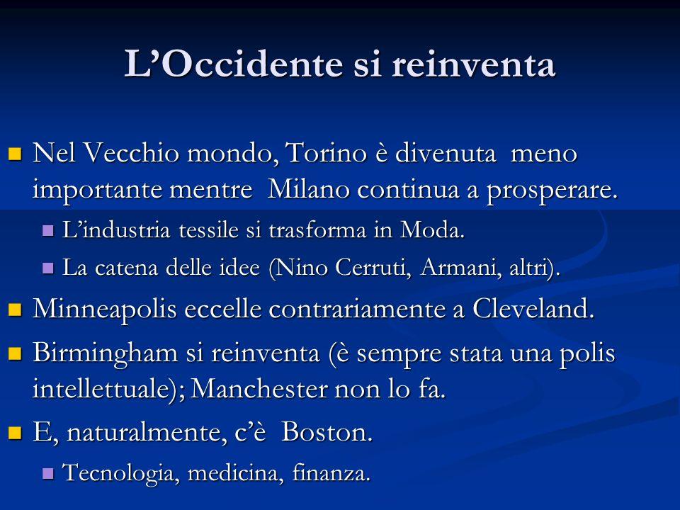 LOccidente si reinventa Nel Vecchio mondo, Torino è divenuta meno importante mentre Milano continua a prosperare. Nel Vecchio mondo, Torino è divenuta