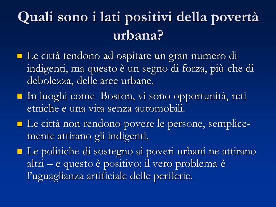 Quali sono i lati positivi della povertà urbana.