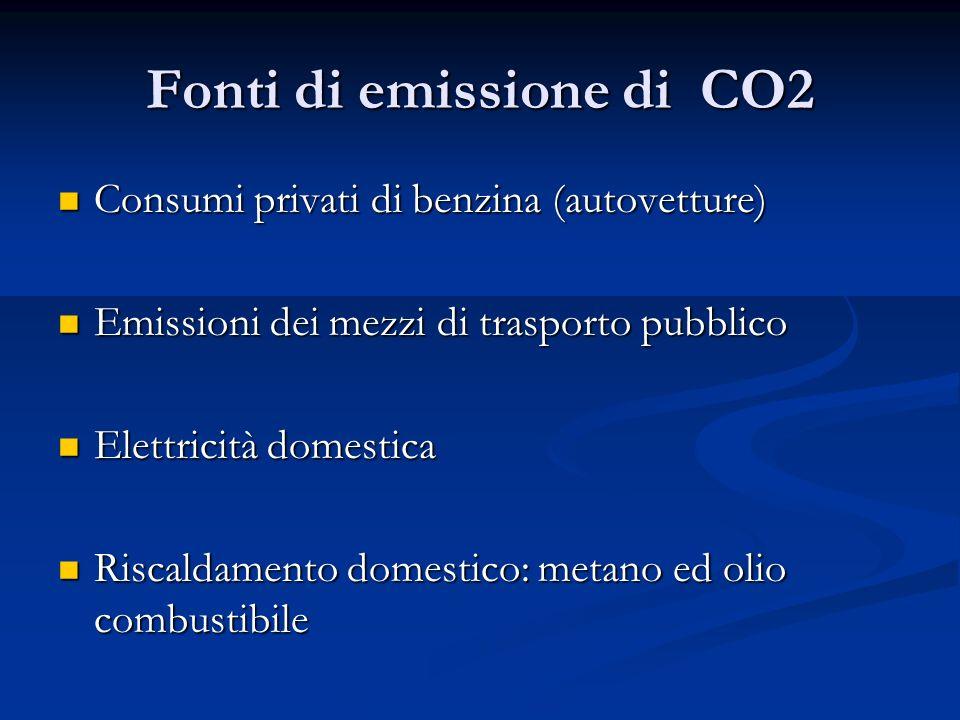 Fonti di emissione di CO2 Consumi privati di benzina (autovetture) Consumi privati di benzina (autovetture) Emissioni dei mezzi di trasporto pubblico Emissioni dei mezzi di trasporto pubblico Elettricità domestica Elettricità domestica Riscaldamento domestico: metano ed olio combustibile Riscaldamento domestico: metano ed olio combustibile