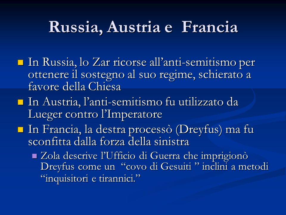 Russia, Austria e Francia In Russia, lo Zar ricorse allanti-semitismo per ottenere il sostegno al suo regime, schierato a favore della Chiesa In Russi