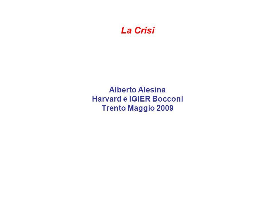 La Crisi Alberto Alesina Harvard e IGIER Bocconi Trento Maggio 2009