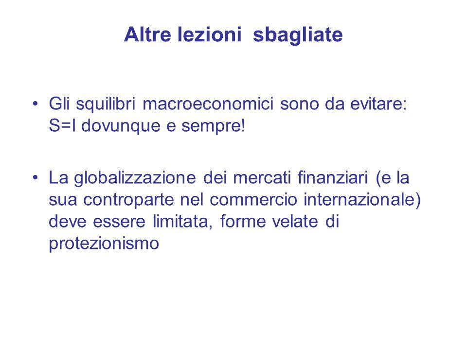 Gli squilibri macroeconomici sono da evitare: S=I dovunque e sempre.