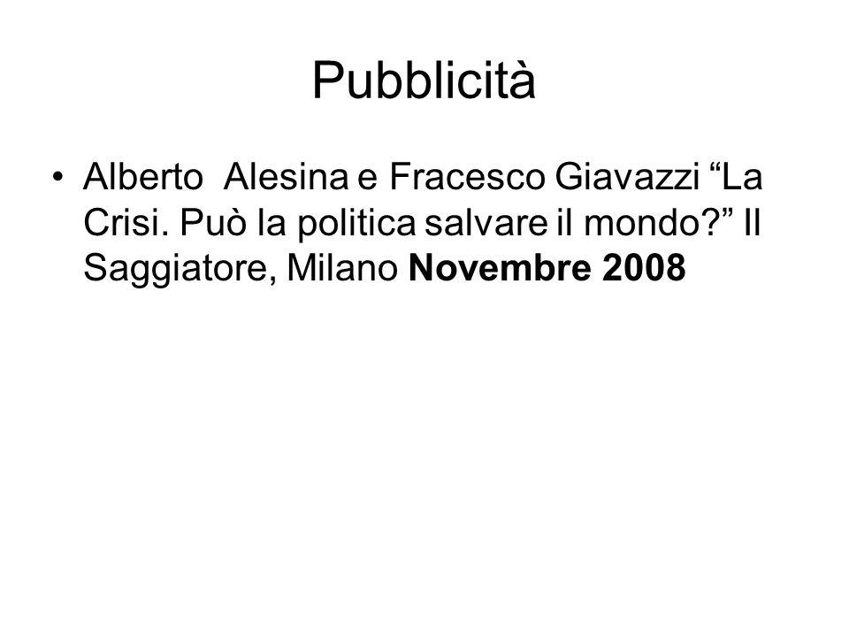 Pubblicità Alberto Alesina e Fracesco Giavazzi La Crisi.