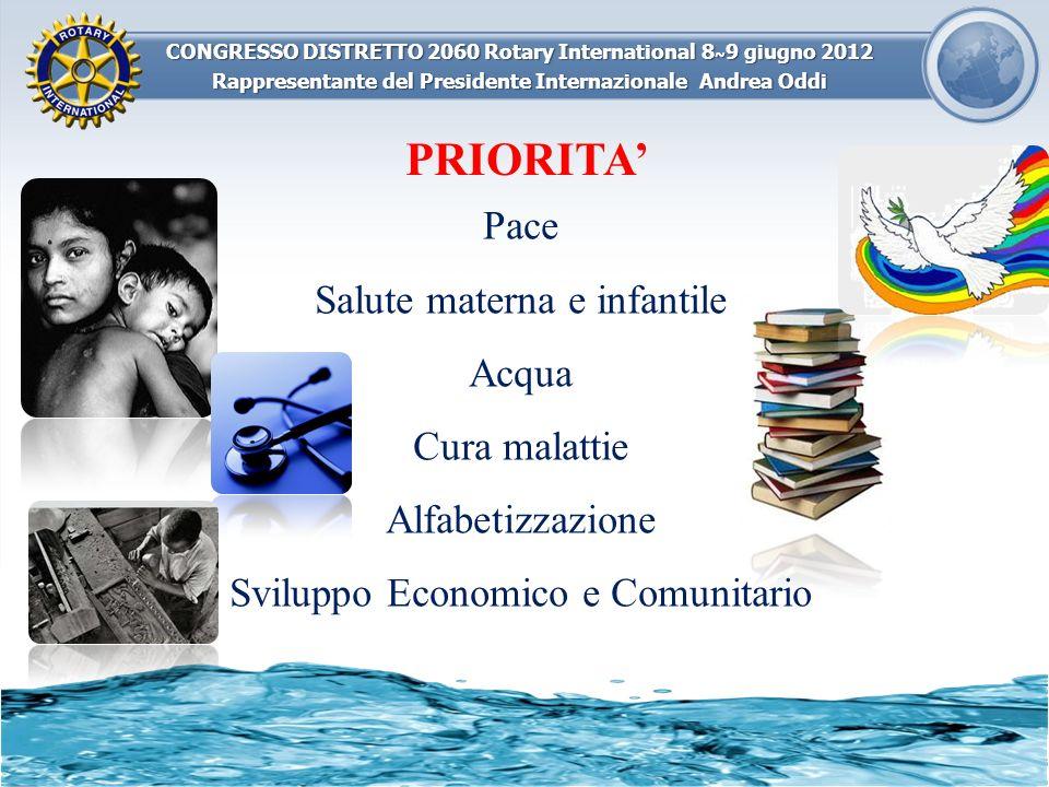 CONGRESSO DISTRETTO 2060 Rotary International 8 ~ 9 giugno 2012 Rappresentante del Presidente Internazionale Andrea Oddi Pace Salute materna e infanti