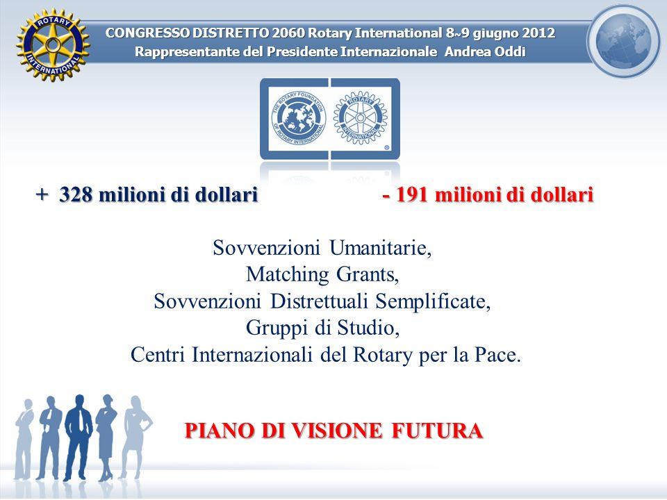 CONGRESSO DISTRETTO 2060 Rotary International 8 ~ 9 giugno 2012 Rappresentante del Presidente Internazionale Andrea Oddi + 328 milioni di dollari - 19