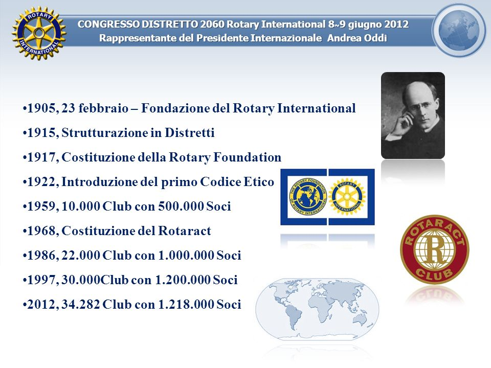 CONGRESSO DISTRETTO 2060 Rotary International 8 ~ 9 giugno 2012 Rappresentante del Presidente Internazionale Andrea Oddi 1905, 23 febbraio – Fondazion