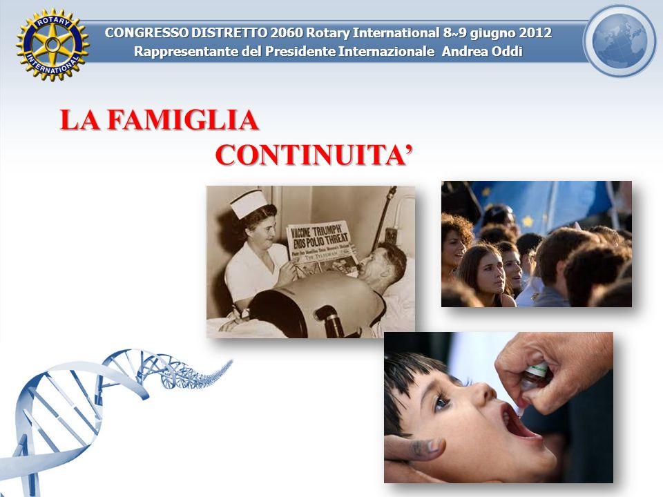 CONGRESSO DISTRETTO 2060 Rotary International 8 ~ 9 giugno 2012 Rappresentante del Presidente Internazionale Andrea Oddi LA FAMIGLIA CONTINUITACAMBIAMENTO