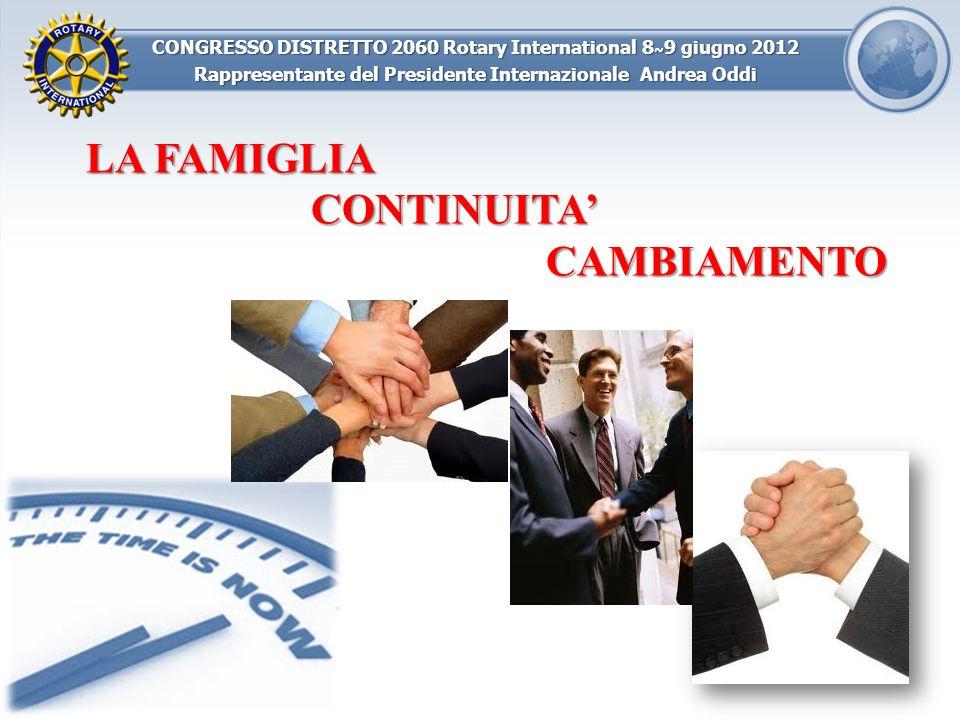 CONGRESSO DISTRETTO 2060 Rotary International 8 ~ 9 giugno 2012 Rappresentante del Presidente Internazionale Andrea Oddi LA FAMIGLIA CONTINUITACAMBIAM