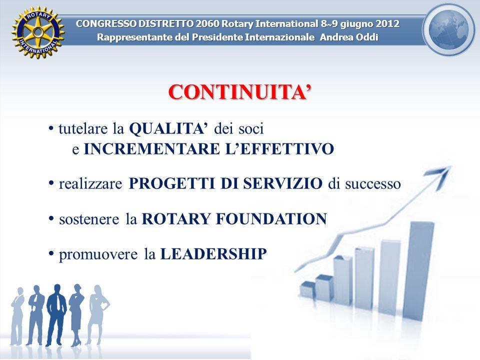 CONGRESSO DISTRETTO 2060 Rotary International 8 ~ 9 giugno 2012 Rappresentante del Presidente Internazionale Andrea Oddi CONTINUITA tutelare la QUALIT