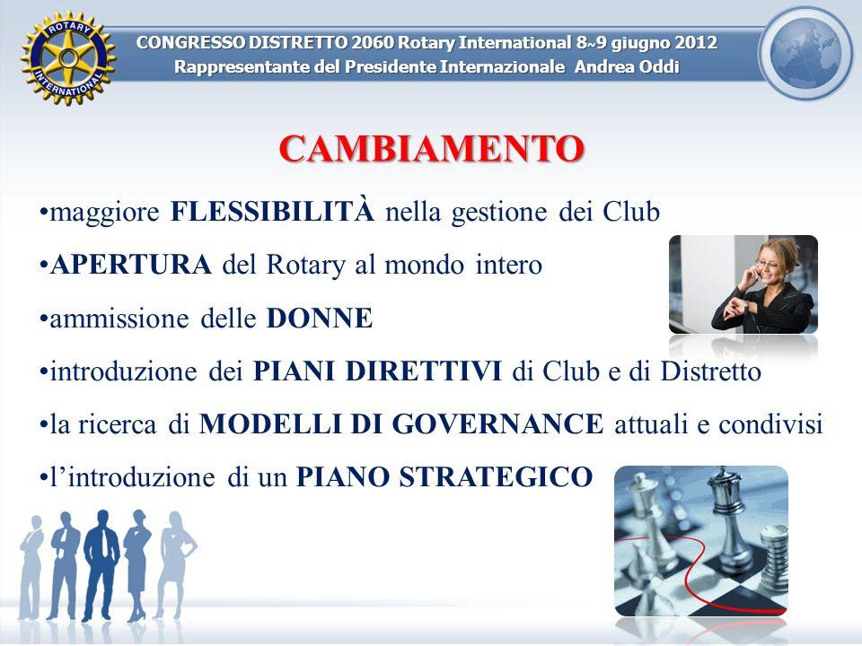 CONGRESSO DISTRETTO 2060 Rotary International 8 ~ 9 giugno 2012 Rappresentante del Presidente Internazionale Andrea Oddi maggiore FLESSIBILITÀ nella g