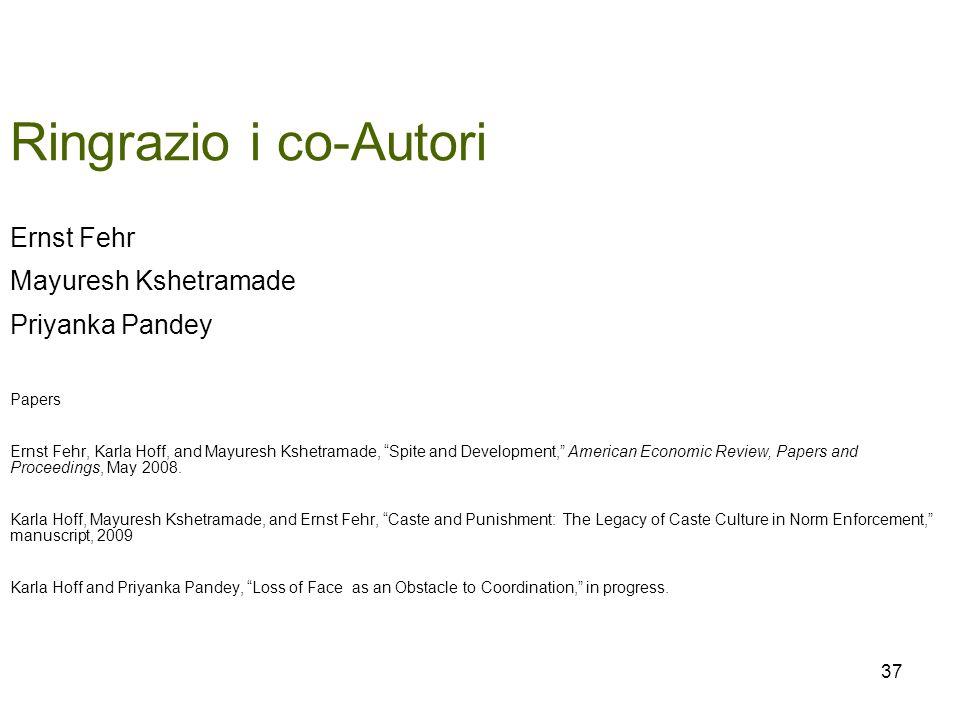 Ringrazio i co-Autori Ernst Fehr Mayuresh Kshetramade Priyanka Pandey Papers Ernst Fehr, Karla Hoff, and Mayuresh Kshetramade, Spite and Development,