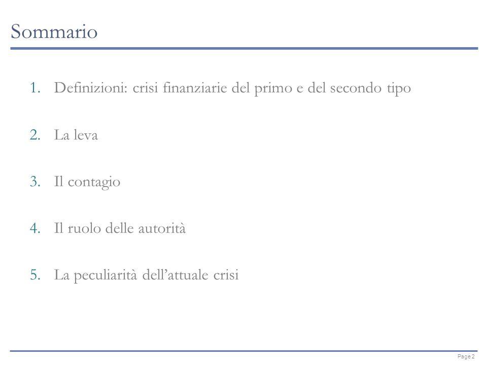 Page 2 Sommario 1.Definizioni: crisi finanziarie del primo e del secondo tipo 2.La leva 3.Il contagio 4.Il ruolo delle autorità 5.La peculiarità dellattuale crisi