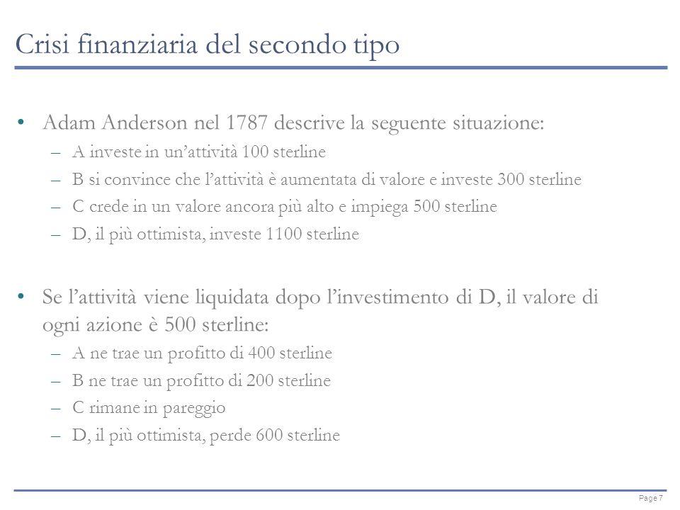 Page 7 Crisi finanziaria del secondo tipo Adam Anderson nel 1787 descrive la seguente situazione: –A investe in unattività 100 sterline –B si convince che lattività è aumentata di valore e investe 300 sterline –C crede in un valore ancora più alto e impiega 500 sterline –D, il più ottimista, investe 1100 sterline Se lattività viene liquidata dopo linvestimento di D, il valore di ogni azione è 500 sterline: –A ne trae un profitto di 400 sterline –B ne trae un profitto di 200 sterline –C rimane in pareggio –D, il più ottimista, perde 600 sterline