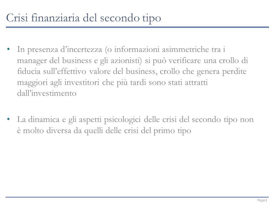 Page 8 Crisi finanziaria del secondo tipo In presenza dincertezza (o informazioni asimmetriche tra i manager del business e gli azionisti) si può verificare una crollo di fiducia sulleffettivo valore del business, crollo che genera perdite maggiori agli investitori che più tardi sono stati attratti dallinvestimento La dinamica e gli aspetti psicologici delle crisi del secondo tipo non è molto diversa da quelli delle crisi del primo tipo