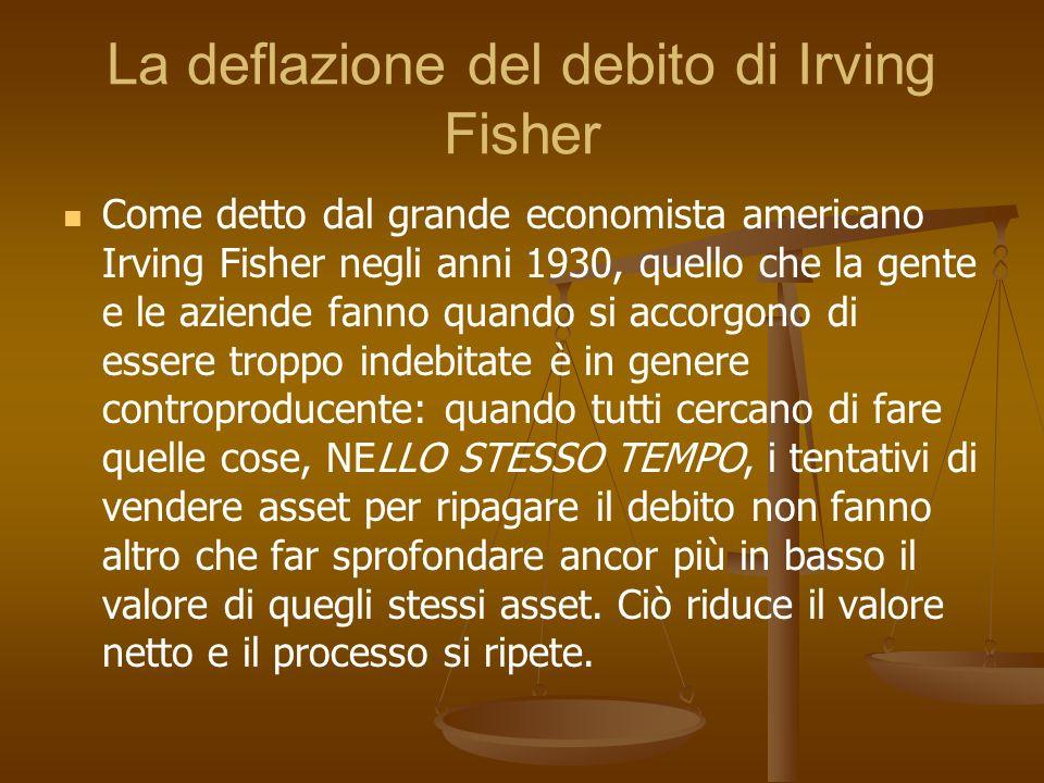 La deflazione del debito di Irving Fisher Come detto dal grande economista americano Irving Fisher negli anni 1930, quello che la gente e le aziende f