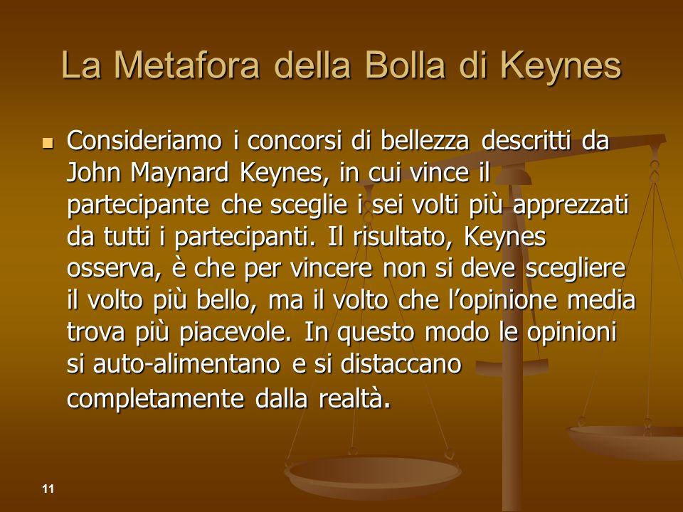 La Metafora della Bolla di Keynes Consideriamo i concorsi di bellezza descritti da John Maynard Keynes, in cui vince il partecipante che sceglie i sei