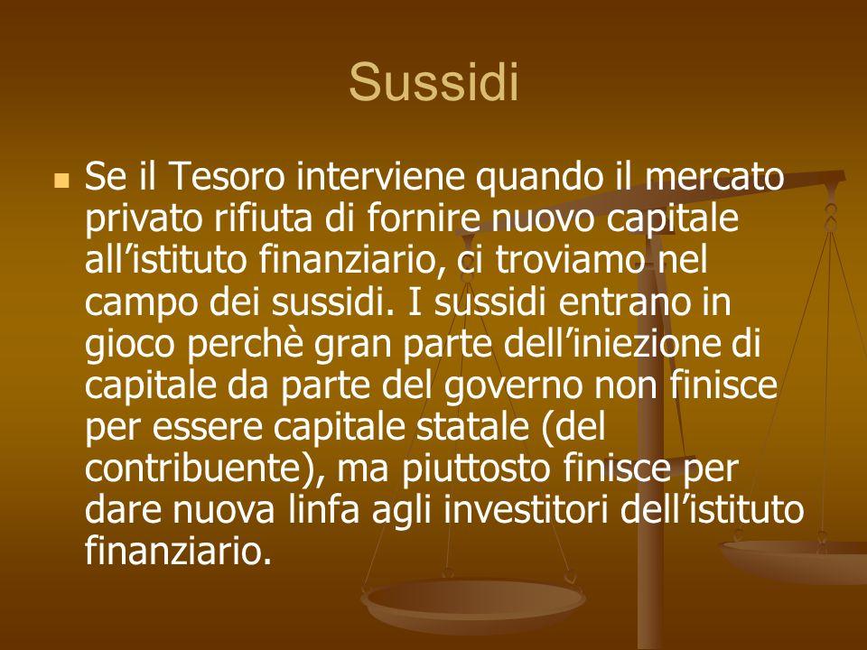 Sussidi Se il Tesoro interviene quando il mercato privato rifiuta di fornire nuovo capitale allistituto finanziario, ci troviamo nel campo dei sussidi