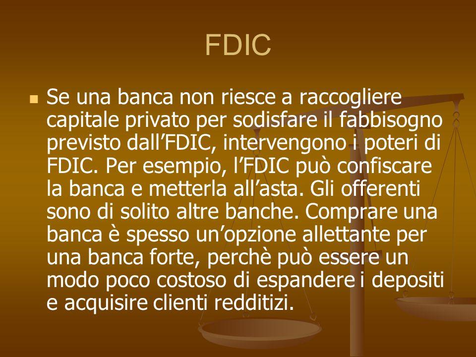 FDIC Se una banca non riesce a raccogliere capitale privato per sodisfare il fabbisogno previsto dallFDIC, intervengono i poteri di FDIC. Per esempio,