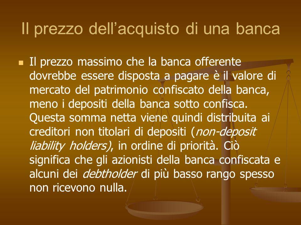Il prezzo dellacquisto di una banca Il prezzo massimo che la banca offerente dovrebbe essere disposta a pagare è il valore di mercato del patrimonio c