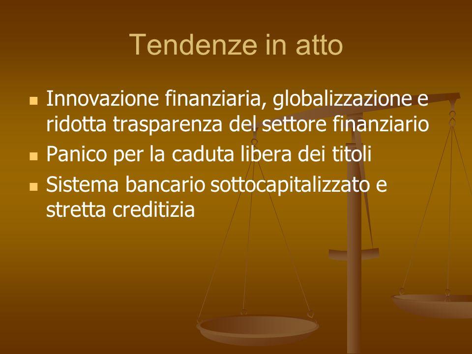 Tendenze in atto Innovazione finanziaria, globalizzazione e ridotta trasparenza del settore finanziario Panico per la caduta libera dei titoli Sistema