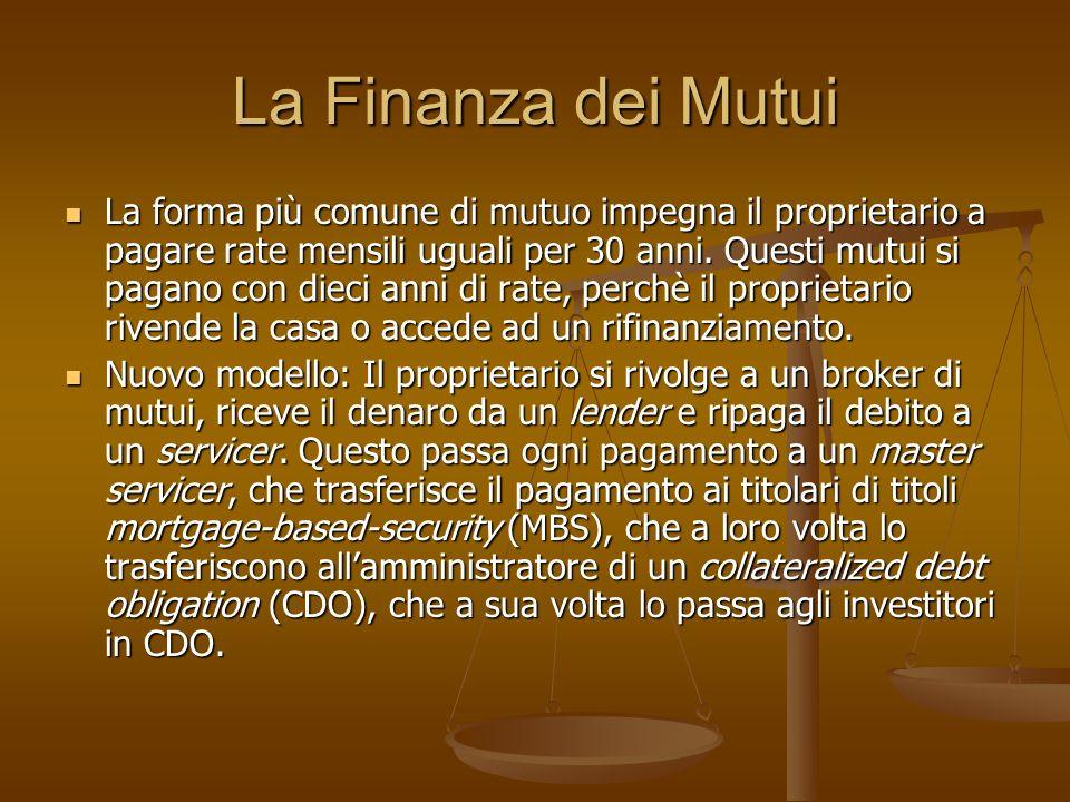 La Finanza dei Mutui La forma più comune di mutuo impegna il proprietario a pagare rate mensili uguali per 30 anni. Questi mutui si pagano con dieci a