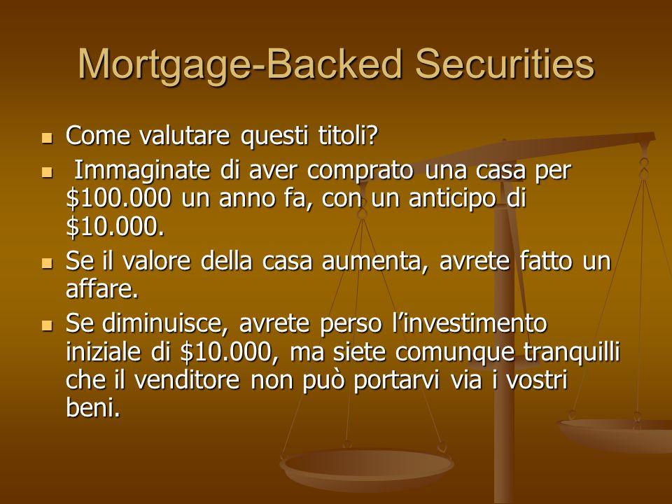 Mortgage-Backed Securities Come valutare questi titoli? Come valutare questi titoli? Immaginate di aver comprato una casa per $100.000 un anno fa, con
