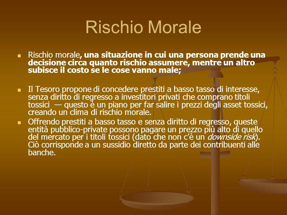 Rischio Morale Rischio morale, una situazione in cui una persona prende una decisione circa quanto rischio assumere, mentre un altro subisce il costo