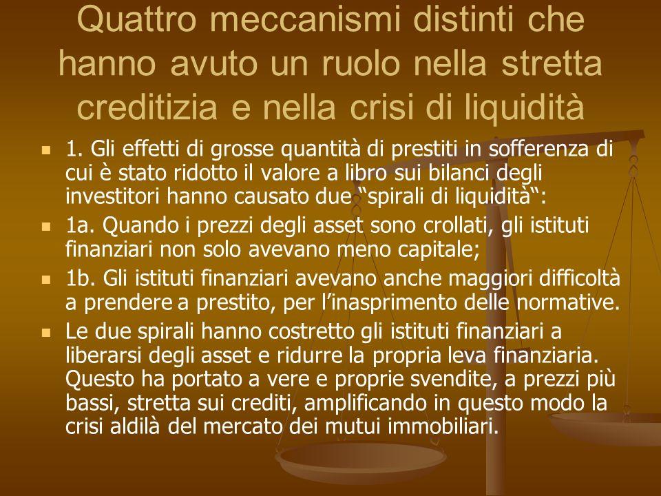 Quattro meccanismi distinti che hanno avuto un ruolo nella stretta creditizia e nella crisi di liquidità 1. Gli effetti di grosse quantità di prestiti