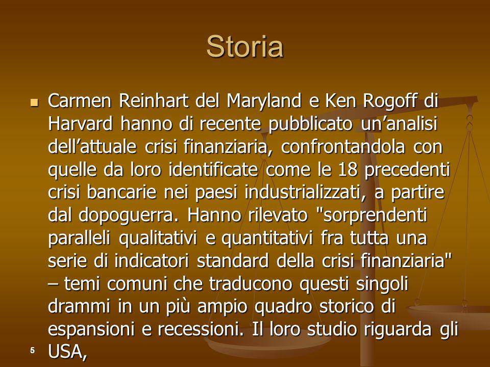 Storia Carmen Reinhart del Maryland e Ken Rogoff di Harvard hanno di recente pubblicato unanalisi dellattuale crisi finanziaria, confrontandola con qu