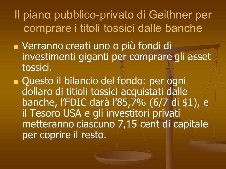 Il piano pubblico-privato di Geithner per comprare i titoli tossici dalle banche Verranno creati uno o più fondi di investimenti giganti per comprare